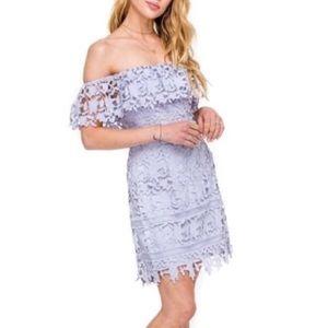 ASTR The Label Lilac Off The Shoulder Lace Dress